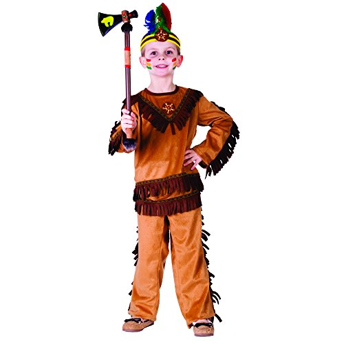 India Costume For Boy (Indian Warrior Boy Costume - Size Small 4-6)