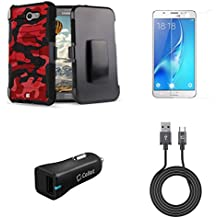Samsung Galaxy J7 (J7 V, Perx, J7 Prime, Sky Pro, Halo) - Bundle: Dual Layer Shockproof Kickstand Belt Holster Case - (Red Camo), Screen Protector, 18W QC 3.0 Car Charger, USB Cable, Atom Cloth
