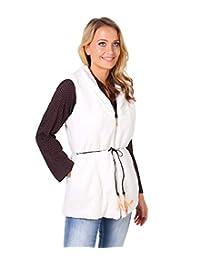 KRISP Women's Faux Fur Fleece Gilet Vest Jacket Spring Waistcoat