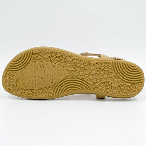 Oasap Mujer Thong Sandals Sandalias Bohemia Adorno de Rhinestone Caqui
