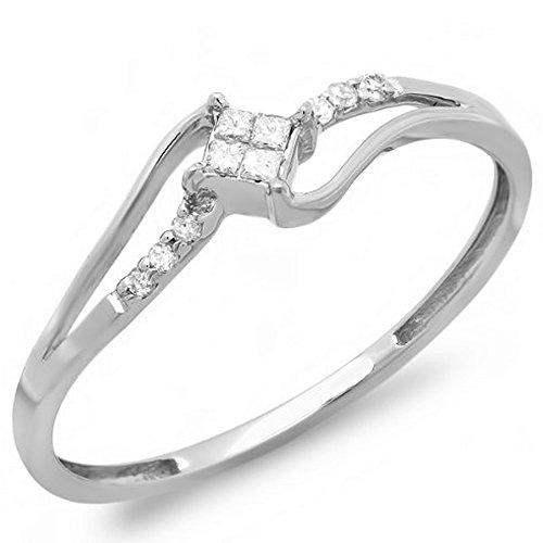 Dazzlingrock Collection 0.10 Carat (ctw) 10K Round & Princess Cut Diamond Ladies Engagement Ring, White Gold, Size 7 (0.1 Ct Princess Diamond)