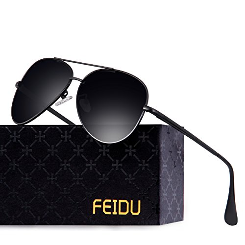 FEIDU Polarized Aviator Sunglasses for Men Driver Sun Glasses Unisex FD9009(Black/Black) by FEIDU