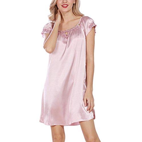 Zhuhaitf Premium Nightgown Nightshirts Satin Silk Chemises Slip Sleepwear Light Pink