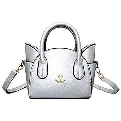 Women's Handbag Fashion Top Handle Bag Cute Cat Cross Body Bag Shoulder Bag Tote Bag for Girls/Women (Silver)