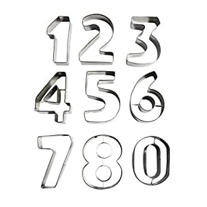 9 piece large metal number shaped cookie for Perfect kitchen number