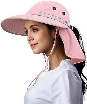 Metyou Women 3 in 1 Zip Off Wide Brim Folding Sun Hat UV Protection Neck Face Flap Cap Summer Outdoor Beach Visor Hats