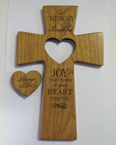 LifeSong Milestones Memorial Wall Cross Always In My Heart With Wooden Heart Cut ()