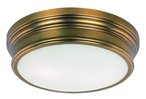 Flush Mount Natural (Two Light Satin White Glass Natural Aged Brass Drum Shade Flush Mount 22370SWNAB)