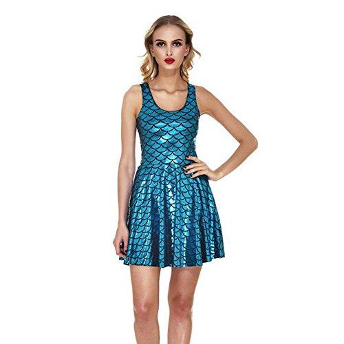 Haodasi Damen Reizvolle Nixe Colorful ärmellos Falten Behälter-Kleid Fischschuppen Kleid