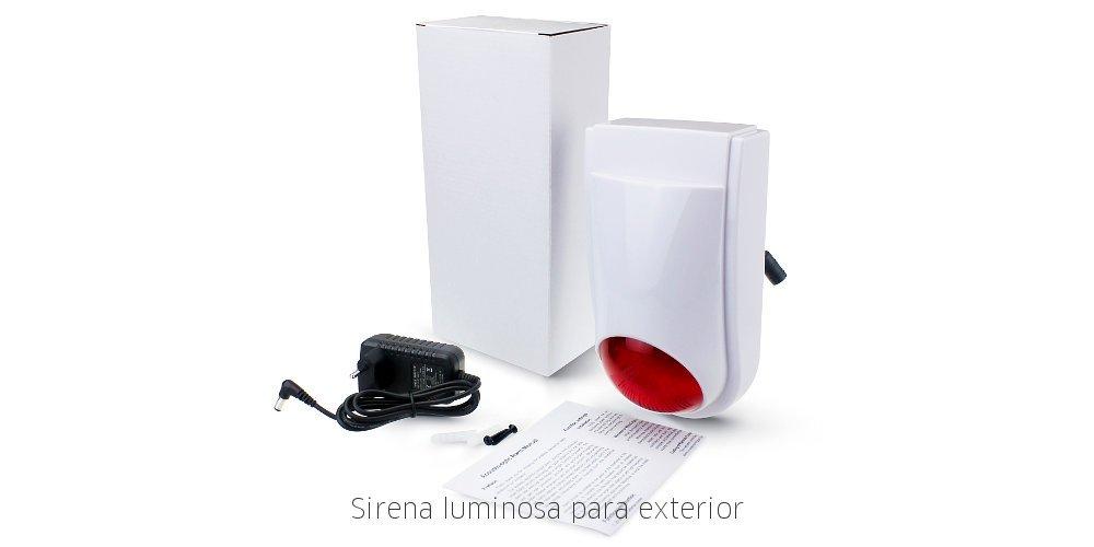 Sirena exterior inalámbrica luminosa para alarmas WiFi ...