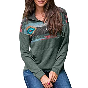 AlvaQ Women Sweatshirt Casual Long Sleeve Quarter Zip Color Block Pullover Tunic Tops With Pockets(S-XXL)