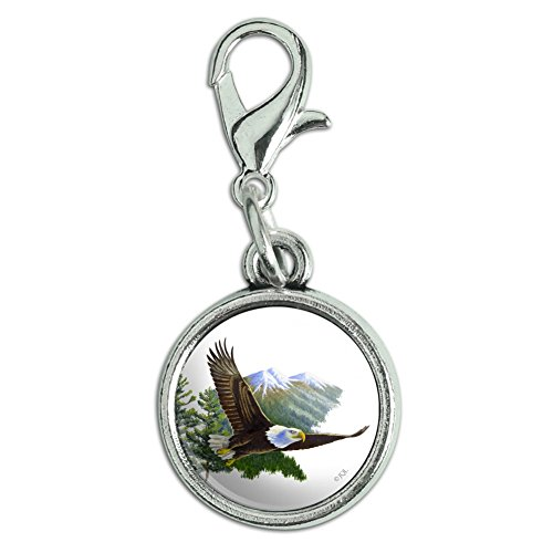 Bald Keychain Eagle (GRAPHICS & MORE Bald Eagle Flying Over The Mountains Scenic Antiqued Bracelet Pendant Zipper Pull Charm with Lobster Clasp)