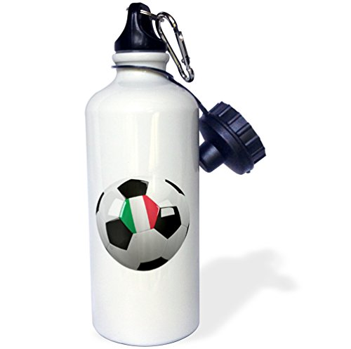 3dRose Soccer Ball with The National Flag of Italy on It Italian Sports Water Bottle, 21 oz, White by 3dRose