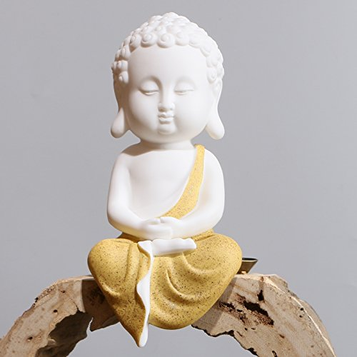 Monk Figurines (Leopard White Ceramic Little Cute Buddha Statue Decoration Buddha Buddhist Monk Figurine (Yellow))
