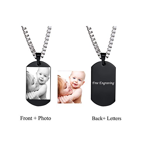 Personalized Photo Engrave Pendant Dog Tag Keychain Necklace Silver Tone Stainless Steel Custom Picture Fashion Jewelry