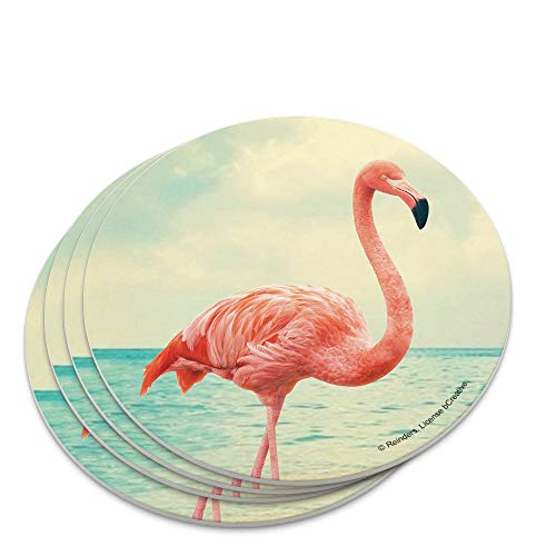(Flamingo on Beach Starfish Retro Novelty Coaster Set)
