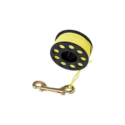 (Finger Reel with Brass Clip Wreck Scuba Diving Tech Spool 3 Sizes, Medium 100 FT)