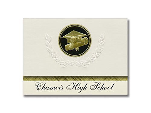 Signature Announcements Chamois High School (Chamois, MO) Graduation Announcements, Presidential style, Elite package of 25 Cap & Diploma Seal Black & Gold