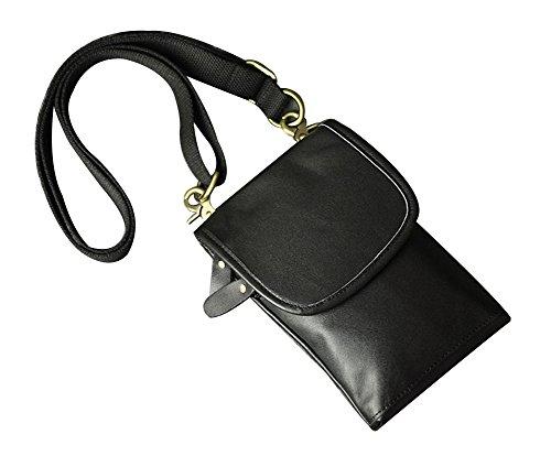 Negro De 2archer Hombres Riñonera negro Cuero Del Genda Gancho Bolso Cinturón Mini Fqq7B