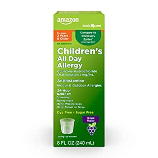 Amazon Basic Care Children's All Day Allergy, Cetirizine Hydrochloride Oral Solution 1 mg/mL, Grape Flavor, 8 Fluid Ounces