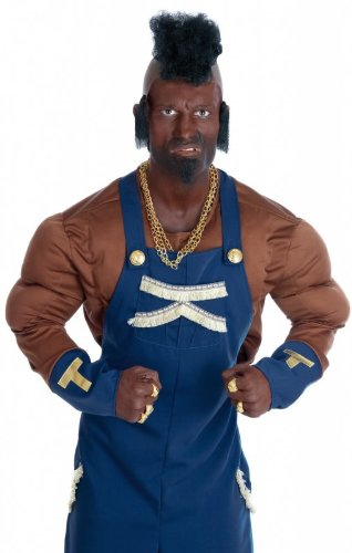 Ba Baracus Fancy Dress Costume (Fun Shack Men's Mr T 80's Mercenary Costume Medium Multicoloured)
