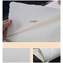 "[10 Pcs] Korean Traditional Mulberry Paper HanJi Handmade Plain Natural White Double Layer 24.8"" x 36.6"""