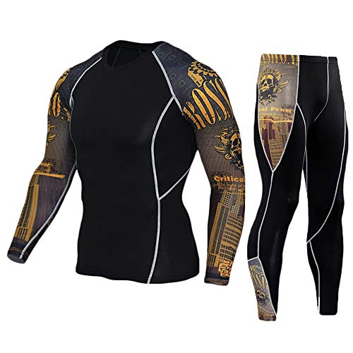 - HEROBIKER Men's Workout Set Compression Shirt and Pants Top Long Sleeve Sports Tight Base Layer Suit Quick Dry Yellow