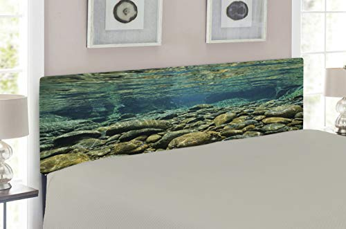 Lunarable River Headboard for Full Size Bed, Underwater View with Rocks and Pebbles Torrent Clear Fresh Water of Dumbea River, Upholstered Metal Headboard for Bedroom Decor, Blue Sea Green