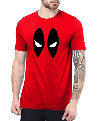 Mens Red Deadpool Shirts for Boys | Eye Mask, M