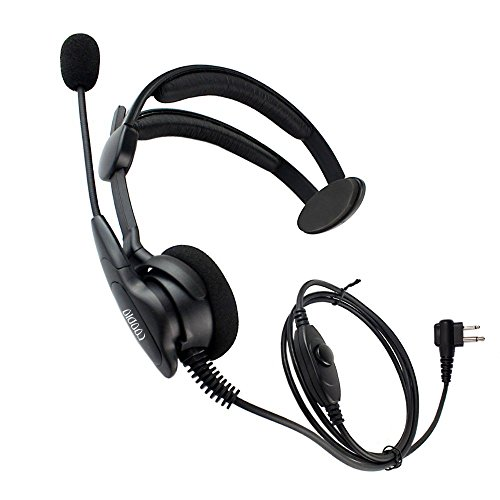 (Coodio Over-the-Head Earpiece Headset [Swivel Boom Microphone] [Noise Cancelling] For 2 Pin Motorola, Hytera 2 Way Radio Walkie Talkie)