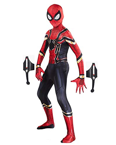 Rulercosplay Unisex Spandex Spider Costume with Web Shooters Lycra Zentai Halloween Cosplay Costumes Kids/Adult 3D Style (Kids-S, Iron Spider)