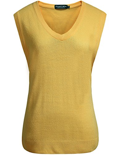 (Camii Mia Women's Solid Knit Classic V Neck Sleeveless Pullover Sweater Vest (Large, Yellow))