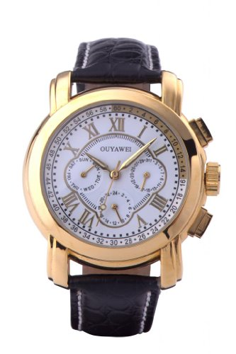 Men's Luxury Unique Round White Dial Gold Shell Black Leather Strap Mechanical Automatic Wrist Watches