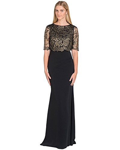 Badgley Mischka T-Shirt Pop-Over Evening Gown, Black, 0 (Badgley Mischka Long Sleeve Jersey Beaded Gown)