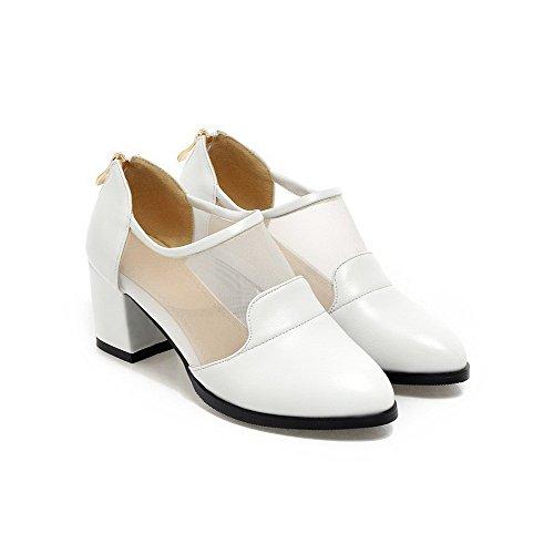 AllhqFashion Damen Rein PU Leder Mittler Absatz Spitz Zehe Reißverschluss Pumps Schuhe Weiß