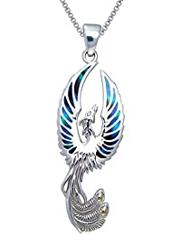 "Jewelry Trends Flying Phoenix Fire Bird Sterling Silver Pendant Necklace 18"" Paua Shell Wings"