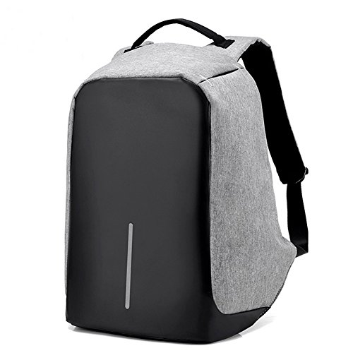 SUSHAL Business Water Resistant Anti Theft Laptop Backpack with USB Charging Port Fits Under 15.6-Inch Laptop and Notebook, Grey (Grey)
