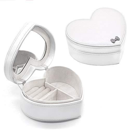 besharppin Jewelry Box Organizer, Heart Shape Mirror Ring Box,Gift Box for Jewelry, Earrings Organizer (White) - Pearl Heart Jewelry Box