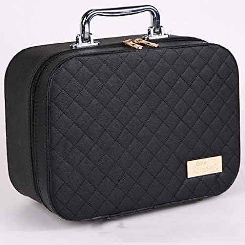 化粧品収納ボックス 携帯用化粧品の収納箱の大きい容量のスーツケースの革ボディサイズのサイズのピンクの黒 JAHUAJ (Color : Black, Size : M)