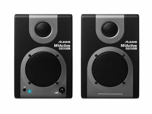 Alesis M1 Active 320 USB | Full-Range Studio Monitor Desktop Speakers with Bass Boost (Pair)