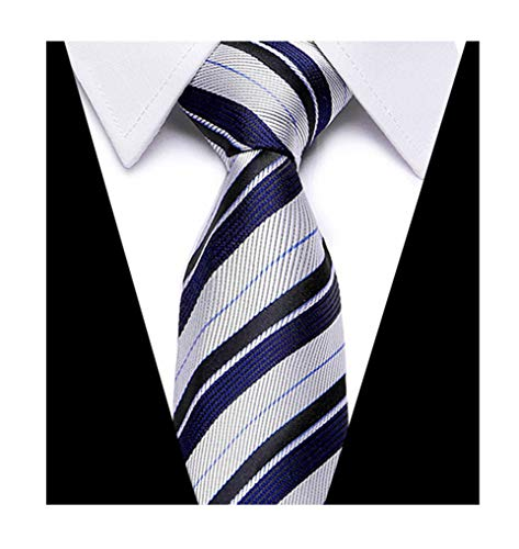 Men Classic Navy Blue Silver Woven Silk Tie Designer Stripe Youth Dress Niceties ()