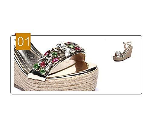De Con Trenzada Plataforma Sandalias Oro Cuerda Hhgold Pedrería Zapatos Eu Tamaño Cáñamo color Pendiente Verano Plata Cm 10 32 AYYSvFc1