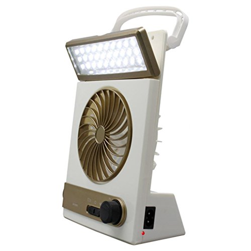 Portable Rechargeable Solar Emergency Camping Tent Fan Flashlight Light Lantern - Golden by liyhh