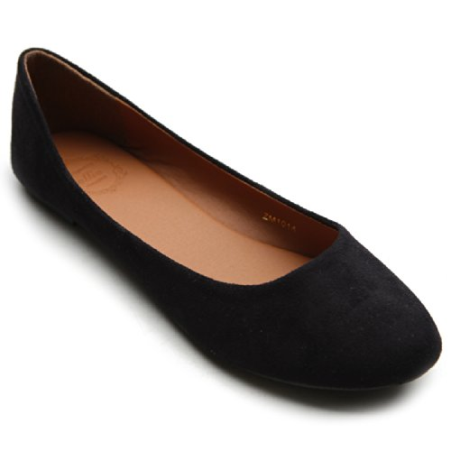 Ollio Womens Shoe Ballet Light Faux Suede Low Heels Flat ZM1014(9 B(M) US, Black)