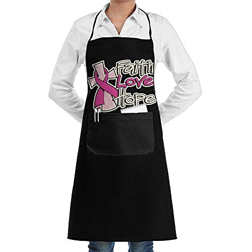 Louise Morrison Faith Love Hope Breast Cancer Awareness Women Men Cooking Adjustable Bib Apron With Pockets by Louise Morrison