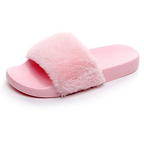 Wysbaoshu Kvinna Fuskpäls Tofflor Mjuka Diabilder Flat Flip Flop Rosa