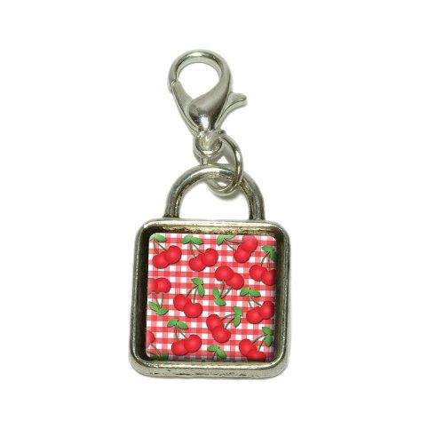 Cherries Pattern Red Checkered Dangling Bracelet Pendant Square Charm ()