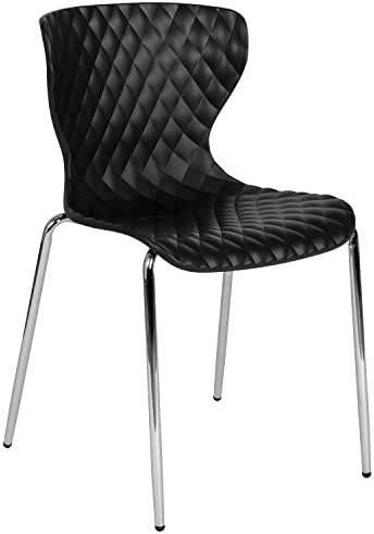 Flash Furniture Lowell Contemporary Design Black Plastic Stack Chair
