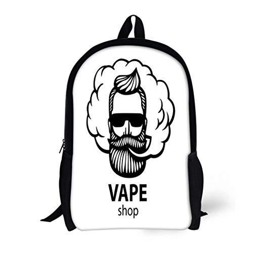 Pinbeam Backpack Travel Daypack White Hipster Dude Mustache and Beard Man Vape Waterproof School Bag ()