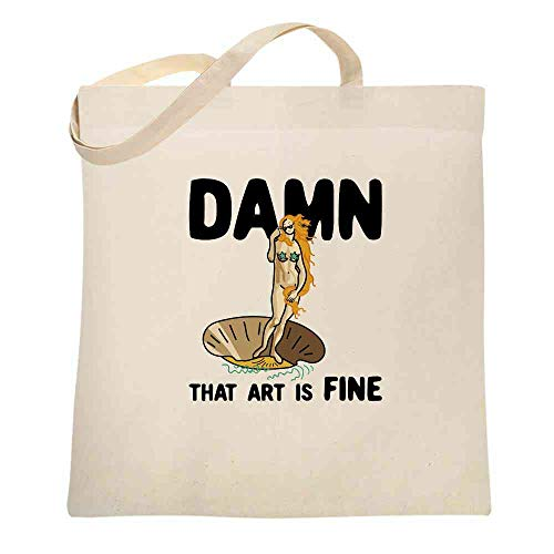 Botticelli Sandro Canvas - Damn That Art Is Fine Birth of Venus Funny Natural 15x15 inches Canvas Tote Bag